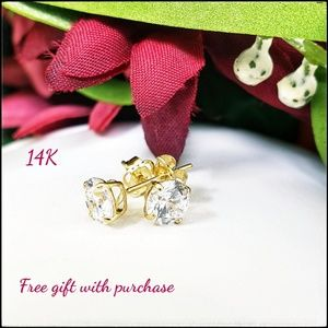 Solid 14K Yellow Gold Round Cut Clear CZ Earrings